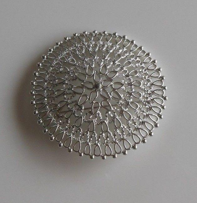 Large Vintage Sarah Coventry Silver Tone Filigree Brooch/Pin