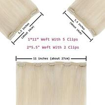 RUNATURE 12 Inches Clip in Human Hair Extensions Color 60 Plaitnum Blonde 50g 3  image 2