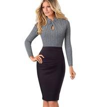 Wear to Work Vintage Keyhole Collar Long Sleeve Dress