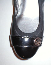 New Womens Authentic Coach Flats Leather 6 Shoes Black Gold Logo Patent ... - $188.00