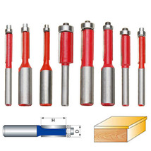 8pcs 1/4 1/2 Inch Shank Dual Flutes Straight Router Bit Flush Trim Cutter Drill - $15.99