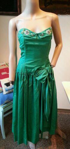 Vintage 15.2ms Verde Perline Paillettes Perle Strass Floreale Abito Festa Ballo