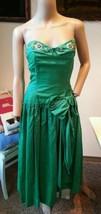 Vintage 15.2ms Verde Perline Paillettes Perle Strass Floreale Abito Fest... - $100.00