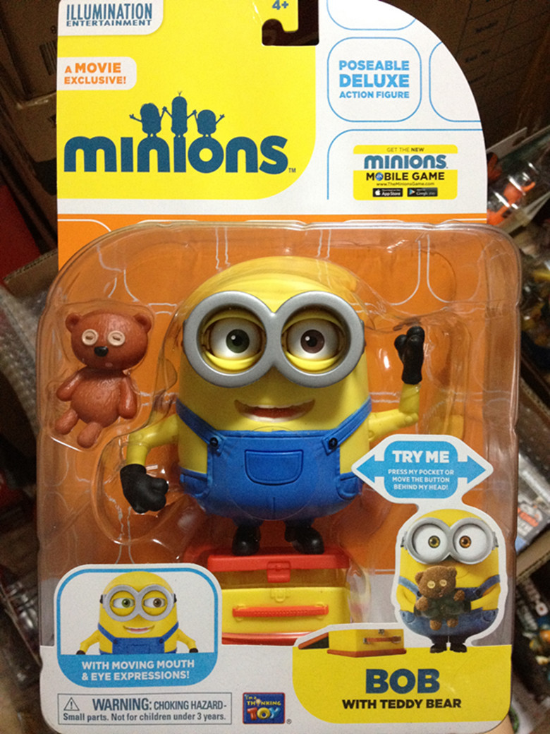 "Primary image for Disney Toys Despicable Me Minion 4"" Pose-able Bob with Teddy bear and lunch box"