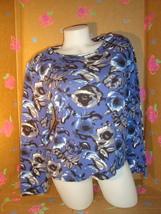 CHARTER CLUB PETITE BLUE FLORAL TOP P/M - $9.99