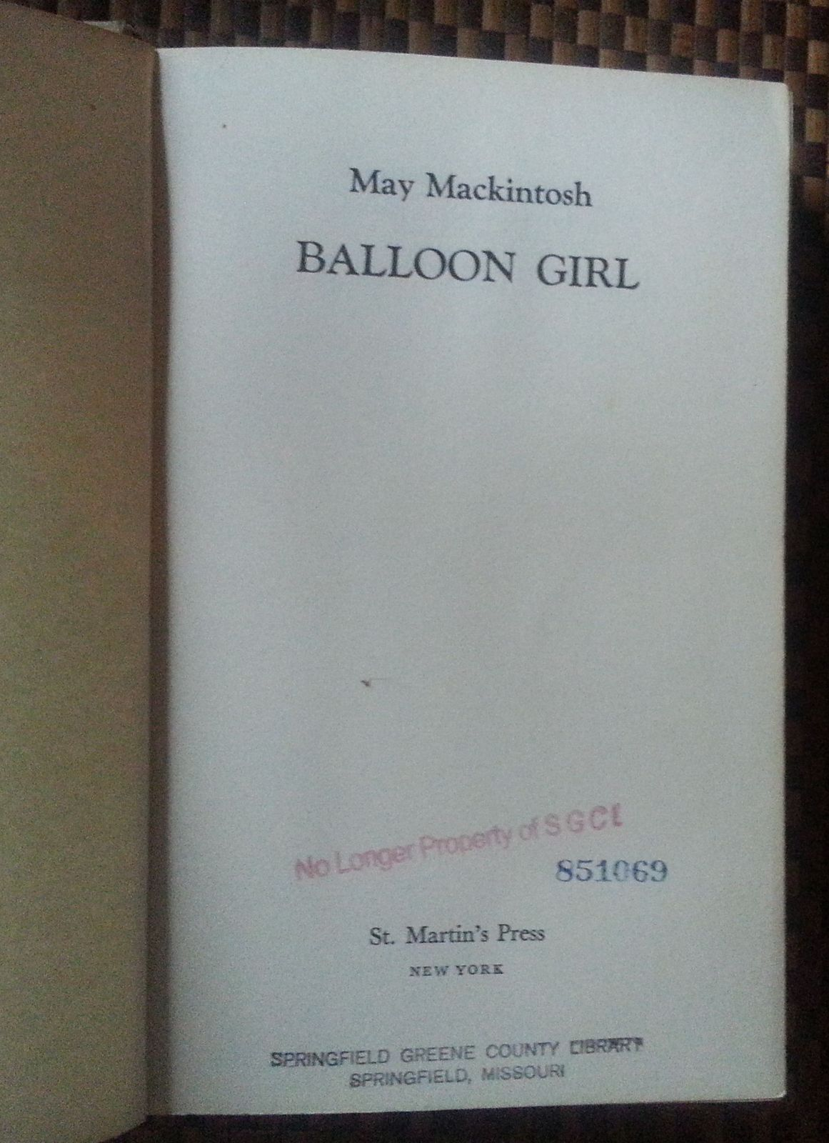 Balloon Girl by May Mackintosh 1976 HBDJ Eternal City