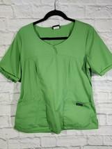 Cherokee Scrub Top Size M Womens Green Medical Work Wear Short Sleeve V Neck Top - $13.27