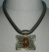 VTG Gold Tone Faux Amber Medallion Snake Coil Choker Necklace Magnet Clasp - $24.75