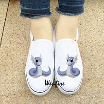 Wenfire Anime Pokemon Dratini Design White Black Slip On Shoes Unisex Sn... - $45.00