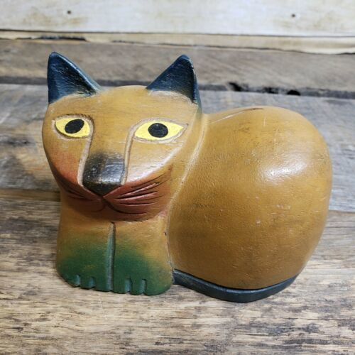 Vintage Carved Wood Kitten Cat Mod Folk Art Figure Sculpture Carving Decor