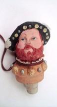 1984 Great American Carved Wood Figural King Henry VIII Wine Bottle Cork... - $13.32