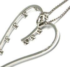 18K WHITE GOLD NECKLACE, BIG HEART PENDANT, 0.44 CARATS DIAMONDS, EAR CHAIN image 5