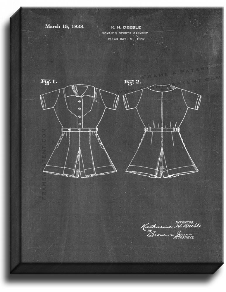 Primary image for Woman's Sports Garment Patent Print Chalkboard on Canvas