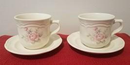 Set of 2 Vintage Pfaltzgraff Tea Rose Stoneware Tea / Coffee Cups & Saucers, USA - $9.50