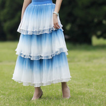 Blue Tiered Tulle Skirt Outfit High Waisted Long Tulle Skirt Holiday Tulle Skirt image 3