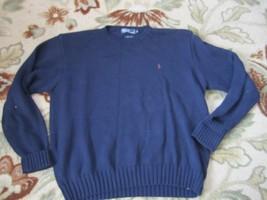 POLO Ralph Lauren Navy Blue SZ XL Crewneck All Cotton Sweater Long Sleeve - $23.12