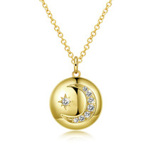 Gold moon layered necklace crescent Moon Wicca horn pendant jewelry for ... - $11.75