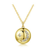 Gold moon layered necklace crescent Moon Wicca horn pendant jewelry for ... - $15.18 CAD