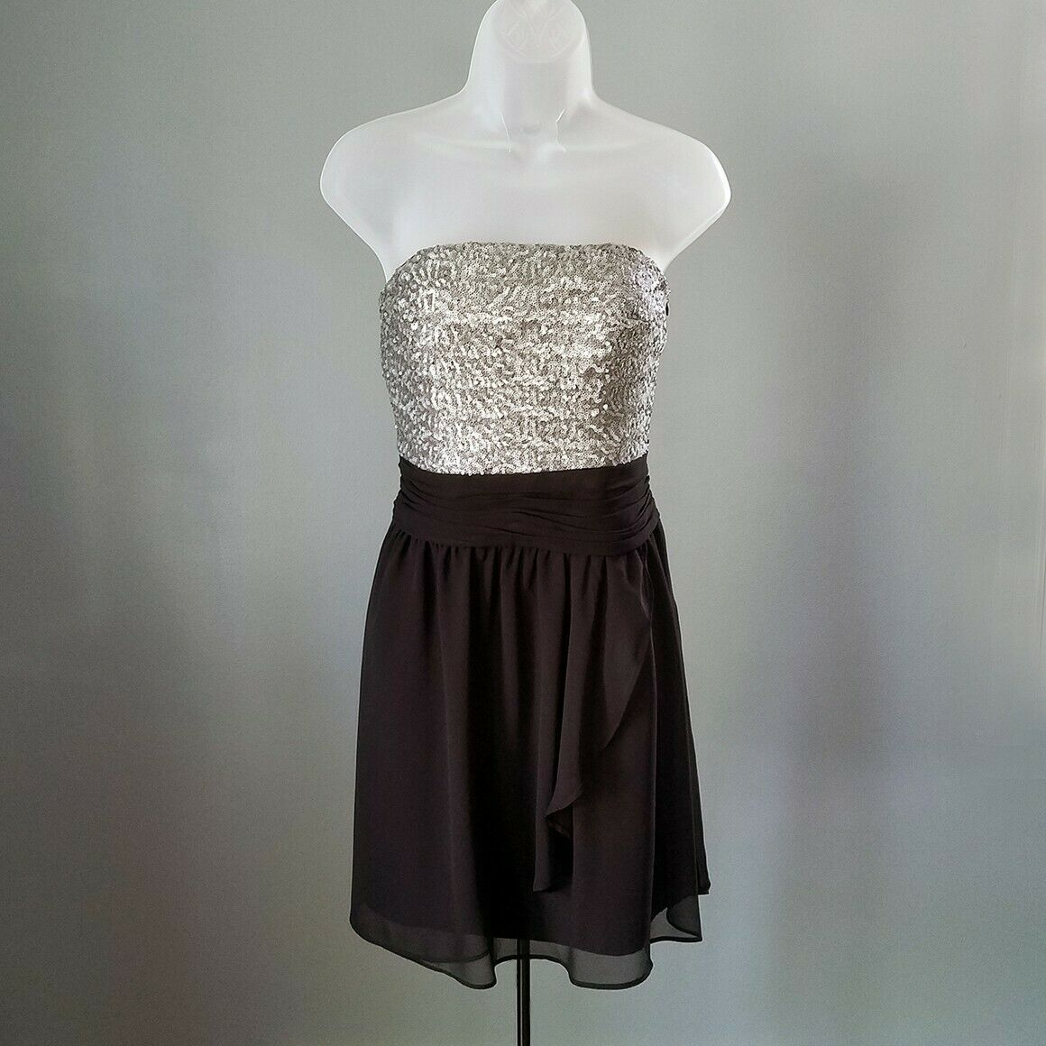 Express Silver & Black Sequin Strapless Cocktail Dress Size 6