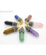 Natural Gemstones Hexagonal Pointed Reiki Chakra Crystal Rhinestones Cap... - $0.98+