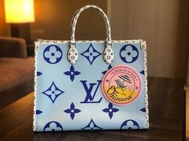 Louis Vuitton ONTHEGO Tote Giant Blue Monogram bag 2019 ON THE GO Okinaw... - $4,237.20