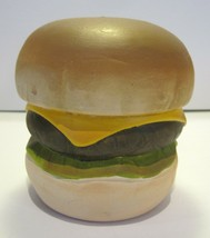 Large Vintage Pottery Ceramic Hamberger Cheeseburger Bank - $11.83
