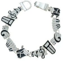 Music Bracelet Piano Keyboard Notes Charm Bracelet With Magnetic Clasp 7... - $46.03
