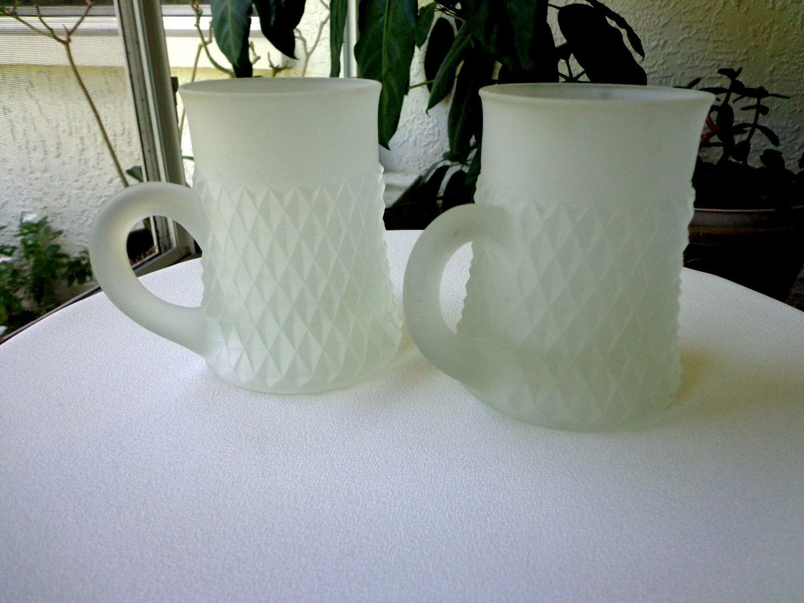 Set of 2 Indiana Glass Diamond Point Frosted Mugs