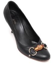 Gucci Pump Leather Black Horsebit Bamboo Gold Hw Round Toe Sz 8B - $240.00