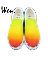 Ul hand painted shoes original design color gradient change slip on man woman s canvas thumbtall