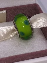 NEW Pandora Green Polka Dot Spots Murano Glass Charm 790613 Retired! - $57.09
