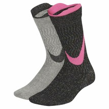 Nike Girl`s 2PK Elite Crew Socks Black/Pink/Gray Medium 5Y-7Y SX7311-937 - $19.99
