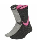 Nike Girl`s 2PK Elite Crew Socks Black/Pink/Gray Medium 5Y-7Y SX7311-937 - $19.99