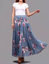 FLORAL Chiffon Long Skirt Dusty Blue Flower Silk Chiffon Skirt Summer Wedding  image 4