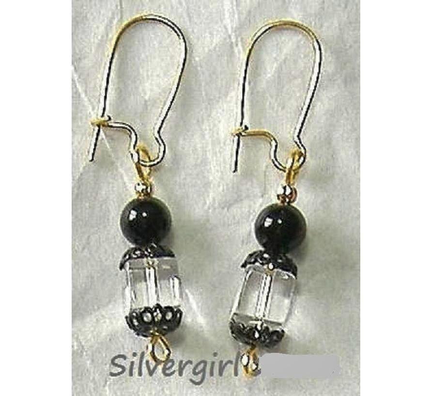Lead crysatal clear black gold earrings