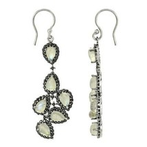 925 Sterling Silver 6 x 4 MM Rainbow Moonstone Black Spinel Earring - $34.77