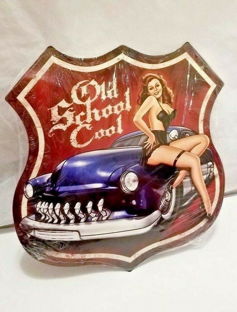 """15"""" HUGE old school cool hot gal pin Car Auto shield icon display USA STEEL Sign - $58.80"""