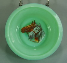 Child's Cereal Bowl Two Horse Heads Decal Juvenile Jadeite Glass Jadite  - $18.69