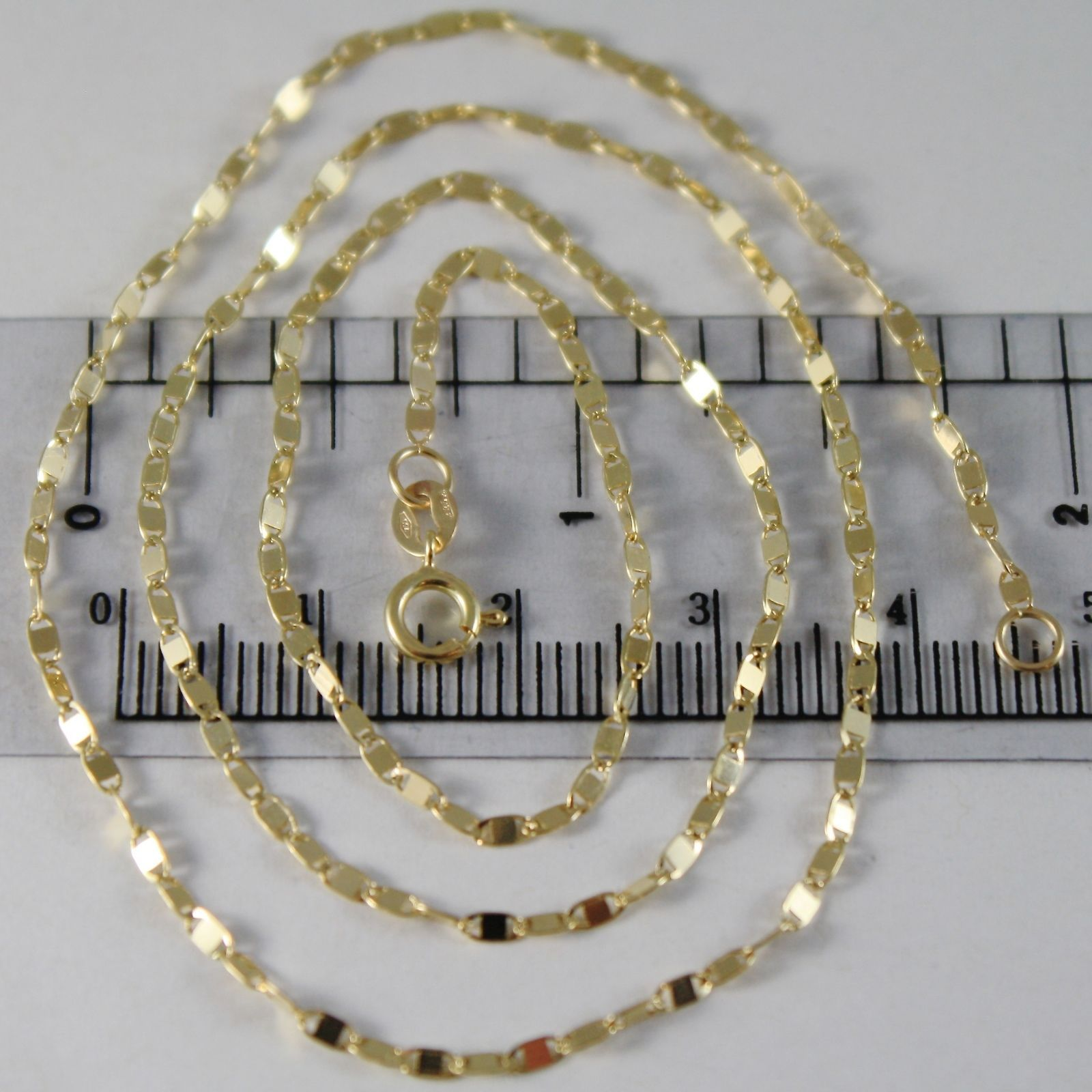 SOLID 18K YELLOW GOLD CHAIN 17.70 INCHES, MINI SQUARE LINK 1.8 MM, MADE IN ITALY