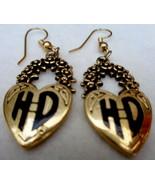 Harley Davidson Goldtone Dangle Earrings Wreath Above Heart - $20.00