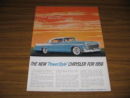 1955 Print Ad The '56 Chrysler Windsor Newport Stardust Blue & Cloud White - $12.03