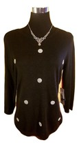 NWT ELLE Rhinestone Polka Dot Textured Knit Sweater - Black - Medium M - $49.69 CAD