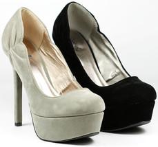 Velvet High Heel Round Toe Platform Pump Qupid Miriam-33 - $14.99