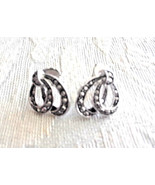 Stunning Vintage Estate Signed Avon Silver Tone Double Loop Small Earrings - $3.00