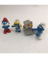 Lot Of 4 PVC Peyo Smurf Figures Including 1994 Computer   - $19.79