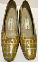 Bandolino Womens Reptile Embossed Gold Patent Leather Pumps Size 7.5M - $24.71