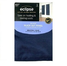 Eclipse Braxton 1 Thermaback Blackout Curtain Panel Blue 42X63 NEW - $7.91