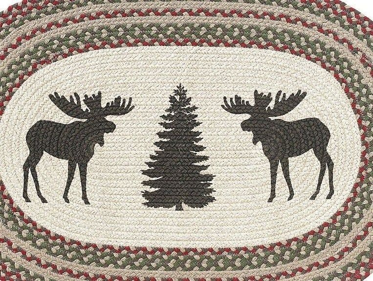 "RuffHewn Herringbone Moose Tree Christmas Oval Country Cabin Accent Rug 36"" X24"""