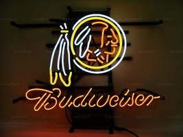 "New Budweiser Washington Redskins NFL Beer Logo Neon Sign 19""x15"" - $116.88"
