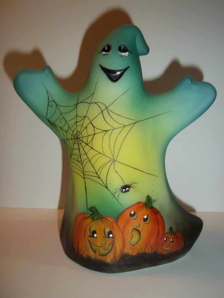Fenton Glass Jovial Pumpkins Ghost Figurine LE of 29 FAGCA Frances Burton 2018